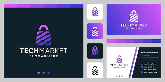 Szablon projektu logo torba na zakupy streszczenie z technologią symbol. projekt wizytówki.