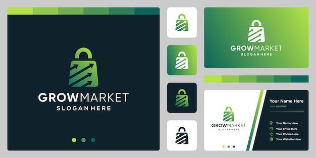 Szablon projektu logo torba na zakupy streszczenie ze strzałką symbolu. projekt wizytówki.