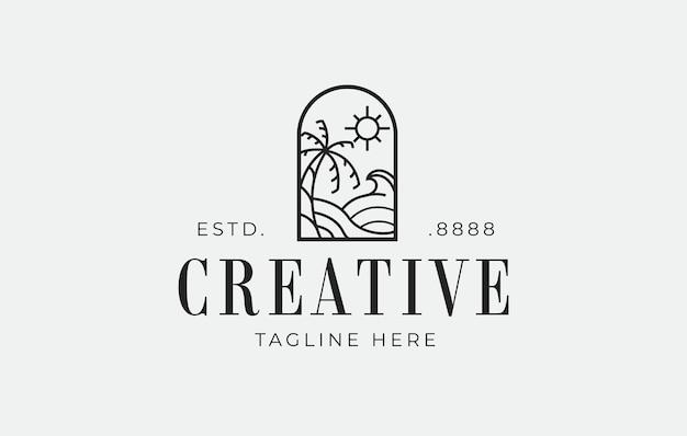 Szablon projektu logo tropikalnej wyspy