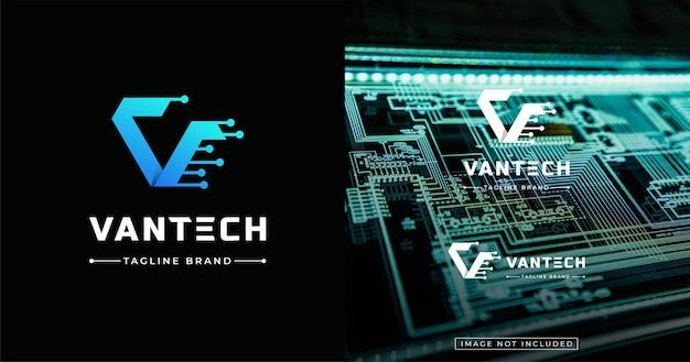 Szablon projektu logo w stylu nowoczesnej technologii listowej