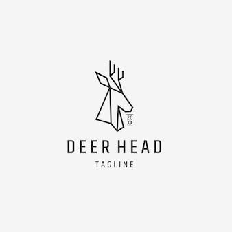 Szablon projektu logo wielokątnego zarysu głowy jelenia