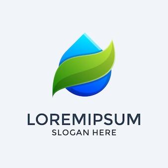 Szablon projektu logo wody i liści