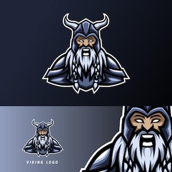 Szablon projektu logo wściekłego sportowca wściekłego wikinga ze zbroją, hełmem, grubą brodą i wąsami