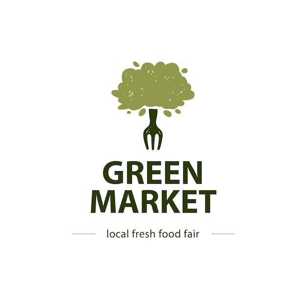Szablon projektu logo zdrowej żywności wektor na białym tle