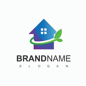 Szablon projektu logo zielonego domu