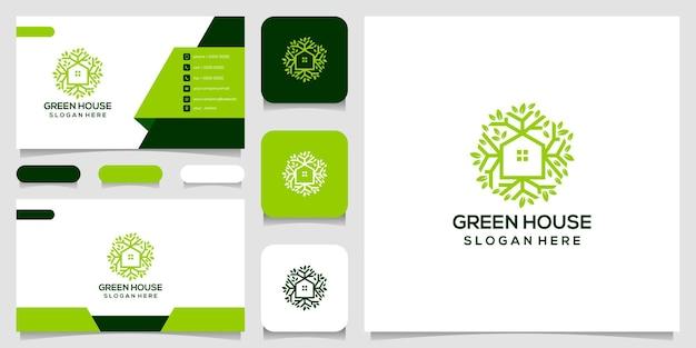 Szablon projektu logo zielony dom i wizytówki.