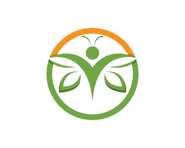 Szablon projektu logo zielony motyl ludzi