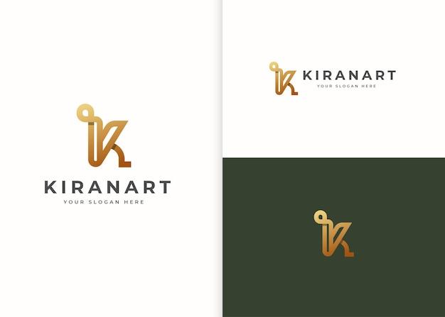 Szablon projektu luksusowego logo litery k