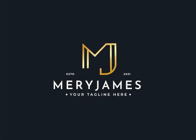 Szablon projektu luksusowego logo litery mj