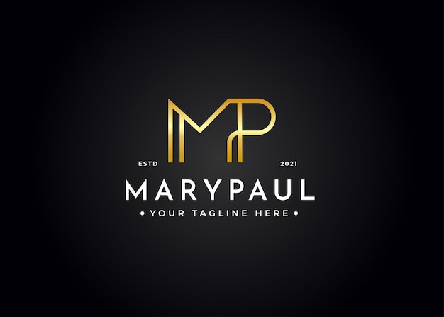 Szablon projektu luksusowego logo litery mp