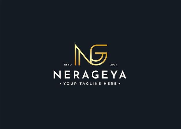 Szablon projektu luksusowego logo litery ng