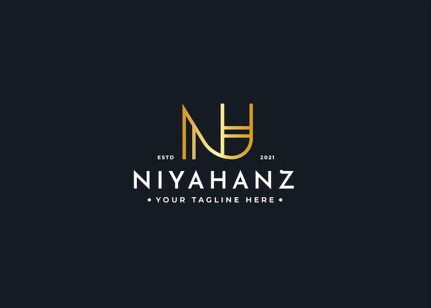 Szablon projektu luksusowego logo litery nh