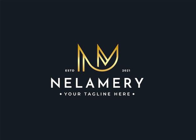 Szablon projektu luksusowego logo litery nm
