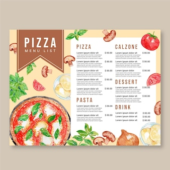 Szablon projektu menu pizzy