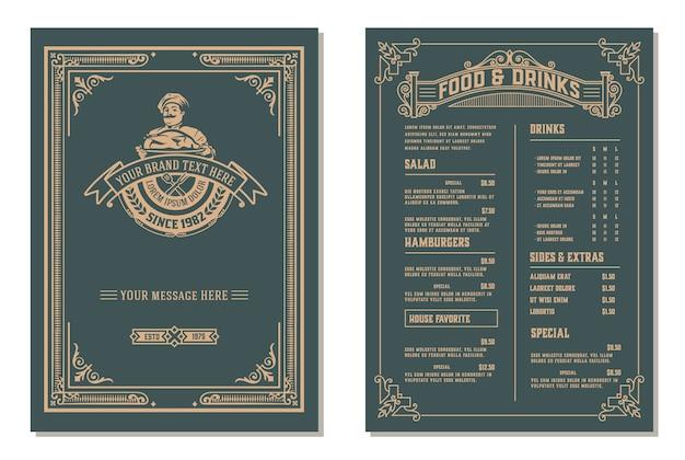 Szablon projektu menu restauracji vintage. warstwowy.