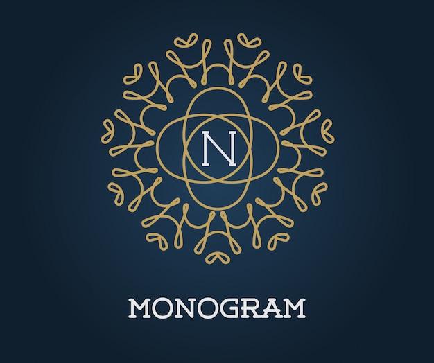 Szablon projektu monogram z ilustracji list premium eleganckiej jakości złoto na granatowym