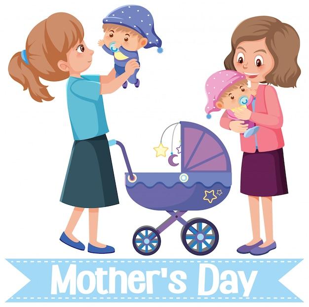 Szablon projektu na szczęśliwy dzień matki z matkami i dziećmi