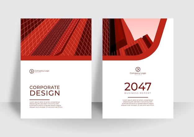 Szablon projektu nowoczesnej czerwonej okładki. korporacyjny raport roczny lub szablon projektu książki