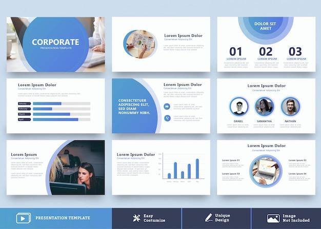 Szablon projektu nowoczesnej prezentacji niebieski 9 stron