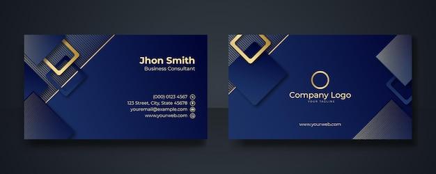 Szablon projektu nowoczesnej wizytówki. czysty profesjonalny szablon wizytówki, wizytówka, szablon wizytówki. streszczenie złote elementy na ciemnym niebieskim tle.