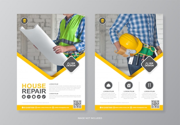 Szablon projektu okładki i tylnej ulotki narzędzi budowlanych