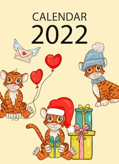 Szablon projektu okładki kalendarza ściennego na rok 2022, rok tygrysa według kalendarza chińskiego lub wschodniego. wektor ilustracja stylu cartoon.