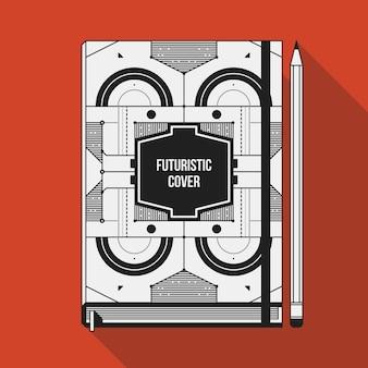 Szablon projektu okładki książki. makieta notebooka. geometryczne elementy futurystyczne.