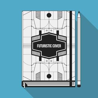 Szablon projektu okładki książki. notebook mockup. geometryczne elementy futurystyczne.