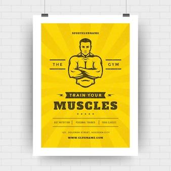 Szablon projektu okładki ulotki centrum fitness nowoczesny układ typograficzny