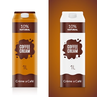Szablon projektu opakowania do kawy. pakiet produktu krem na białym tle. torba na jedzenie w płynie do kawiarni.