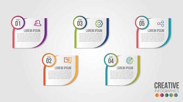 Szablon projektu osi czasu firmy infographic z ikonami i 5 liczb opcji lub kroków.