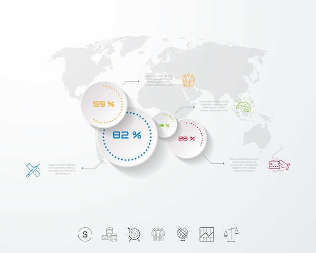 Szablon projektu osi czasu infografiki biznesowych z ikonami i 5 krokami
