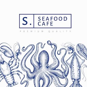 Szablon projektu owoce morza. ręcznie rysowane ilustracji wektorowych owoców morza