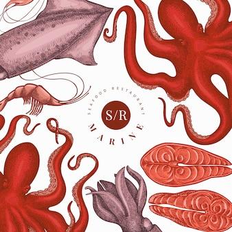 Szablon projektu owoce morza. ręcznie rysowane owoce morza ilustracja. grawerowane jedzenie. tło zwierzęta morskie retro