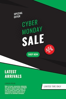 """Szablon projektu pionowego banera """"cyber poniedziałek sprzedaż"""". prosta promocja w płaskich kolorach."""