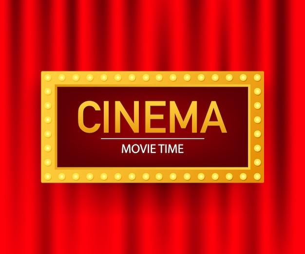 Szablon projektu plakatu filmu kino. popcorn, taśma filmowa, bilety, clapboard. ilustracja.