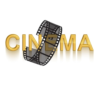 Szablon projektu plakatu kinowego 3d złoty tekst kina ozdobiony taśmą filmową