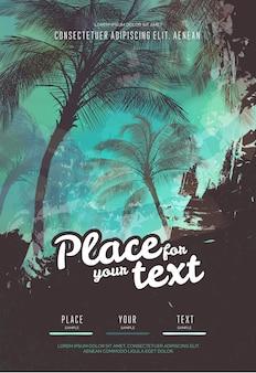 Szablon projektu plakatu letniej imprezy z sylwetkami drzew palmowych. nowoczesny styl. ilustracji wektorowych