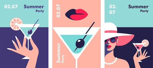 Szablon projektu plakatu na przyjęcie letnie minimalistyczny styl