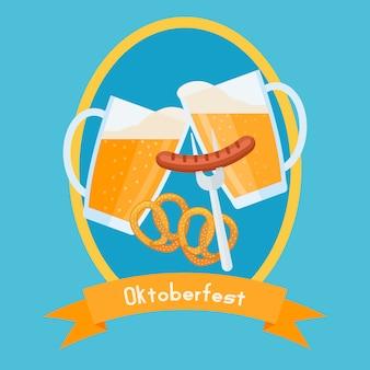 Szablon projektu plakatu oktoberfest. brzęczące szklanki do piwa z pianką, precelkami i kiełbasą.