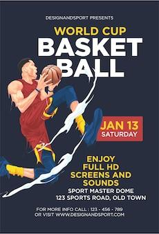 Szablon projektu plakatu ulotki pucharu świata w koszykówce