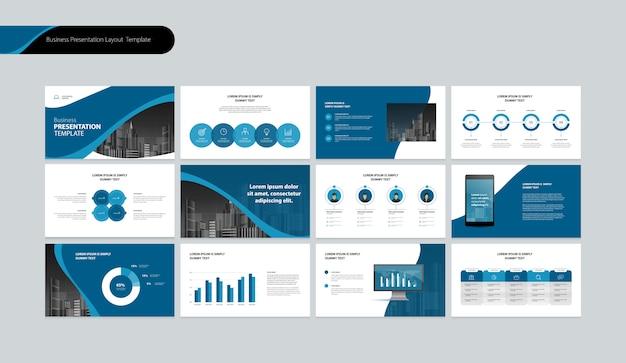 Szablon projektu prezentacji biznesowej i projekt układu strony dla rocznego raportu biznesowego