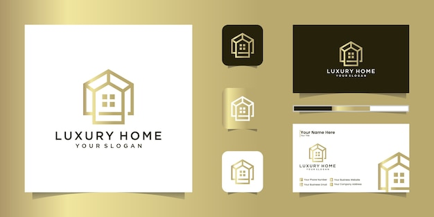 Szablon projektu profesjonalnego logo luksusowego domu i projekt wizytówki