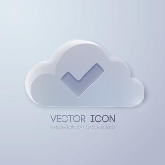 Szablon projektu przycisku sieci web z chmurą szkła i znacznikiem wyboru