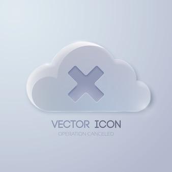 Szablon projektu przycisku sieci web z chmurą szkła i znakiem x