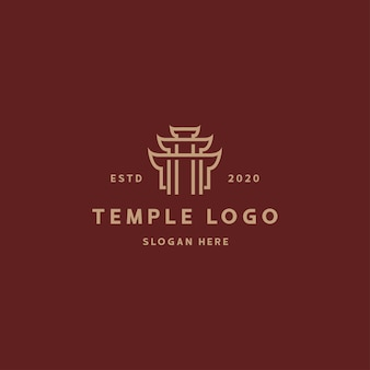 Szablon projektu retro vintage logo świątyni
