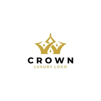 Szablon projektu retro vintage logo złota korona