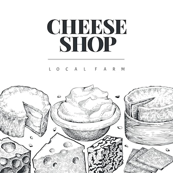 Szablon projektu sera. ręcznie rysowane ilustracja nabiał. grawerowane style różnych rodzajów sera. tło vintage żywności.
