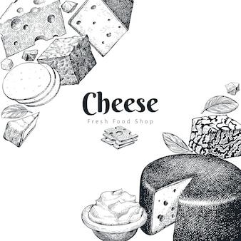 Szablon projektu sera. ręcznie rysowane wektor mleczarnia. grawerowane style różnych rodzajów sera.