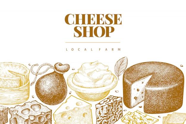 Szablon projektu sera. ręcznie rysowane wektor mleczarnia.